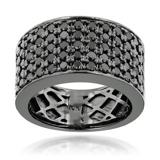 Luxurman Designer 10k Black Gold Men's 1 3/4ct TDW Black Diamond Wedding Ring