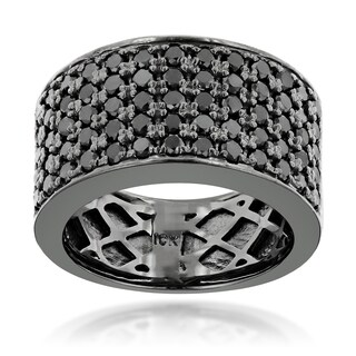Luxurman Designer 10k Black Gold Men's 1 3/4ct TDW Black Diamond Wedding Ring (More options available)