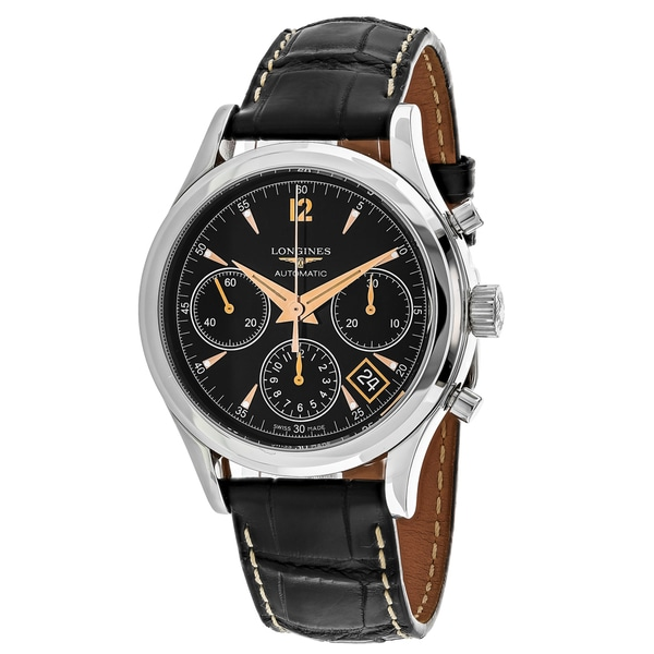 Shop longines men 39 s l27424560 heritage round black leather strap watch free shipping today for Longines leather strap