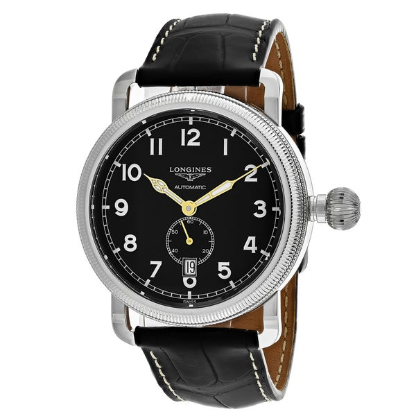 Longines men 39 s l27774532 avigation round black leather strap watch free shipping today for Longines leather strap