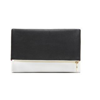 Alchemy Designer Eco-Silk Black and White Foldable Fashion Clutch Wallet - Reversible Vegan Handbag for Any Occasion!