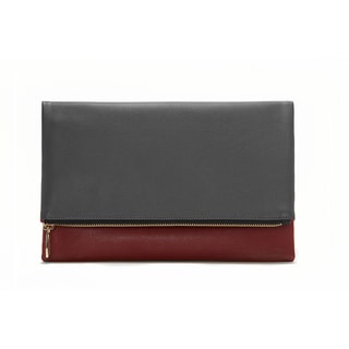 Dark Grey and Red Foldable Clutch