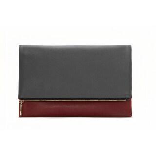 Alchemy Designer Eco-Silk Dark Grey and Red Foldable Fashion Clutch Wallet - Reversible Vegan Handbag for Any Occasion!