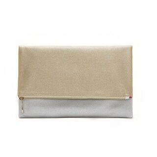 Alchemy Designer Eco-Silk Gold and Silver Two-Tone Foldable Fashion Clutch Wallet - Reversible Vegan Handbag for Any Occasion!