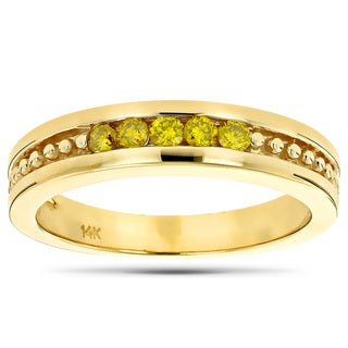 Luxurman 14k Gold 1/4ct TDW Yellow Diamond Wedding Band 5-stone Anniversary Ring