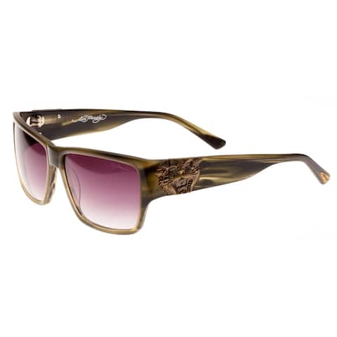Ed Hardy Olive Horn Ehs Tiger Mouth Men's Sunglasses