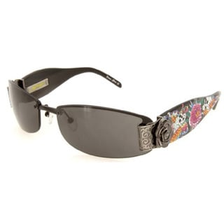 Ed Hardy Ehs-020 Black Solid Grey Skull Butterflies Sunglasses