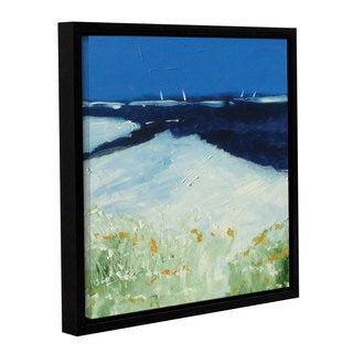 Stuart Roy's ' Beach With Flowers' Gallery Wrapped Floater-framed Canvas