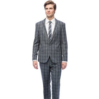 West End Men's Young Look Slim Fit Grey Plaid Vested Suit