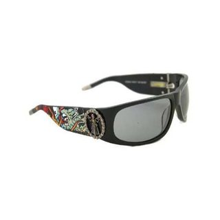 Ed Hardy Ehs-044 Black Grey Gradient Live To Ride Sunglasses