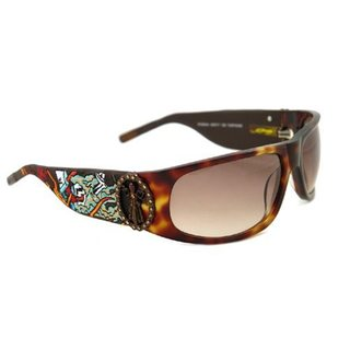 Ed Hardy Live To Ride Ehs-044 Tortoise Brown Gradient Sunglasses