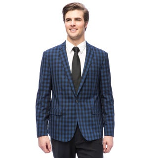West End Men's Young Look Slim-fit Blue Check Pattern Suit