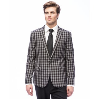 West End Men's Grey Young Look Slim Fit Check Pattern Suit
