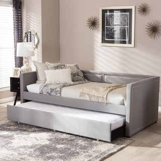 Baxton Studio Sofia Modern Contemporary Beige or Grey Fabric Nailheads Trimmed Sofa Twin Daybed with Roll-out Trundle Guest Bed