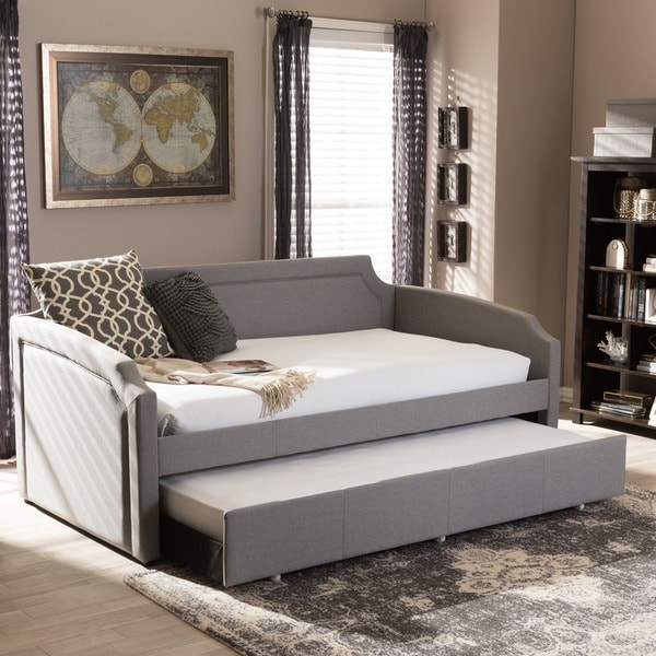 shop baxton studio paraskeve modern and contemporary fabric curved notched corners sofa twin. Black Bedroom Furniture Sets. Home Design Ideas