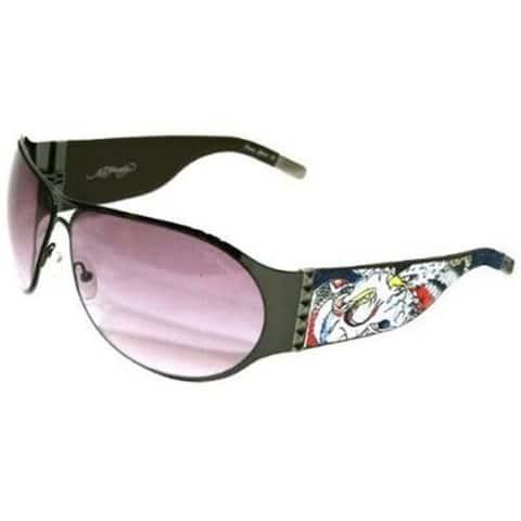 Ed Hardy Ehs-011 Black Solid Grey Battle Sunglasses - M