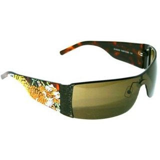 Ed Hardy Ehs-009 Tortoise Solid Brown Tiger Running Sunglasses