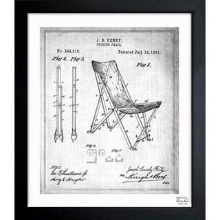'Folding Chair 1881' Framed Blueprint Art