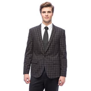 West End Men's Young Look Black Check-Pattern Polyester/Viscose Slim-Fit Suit