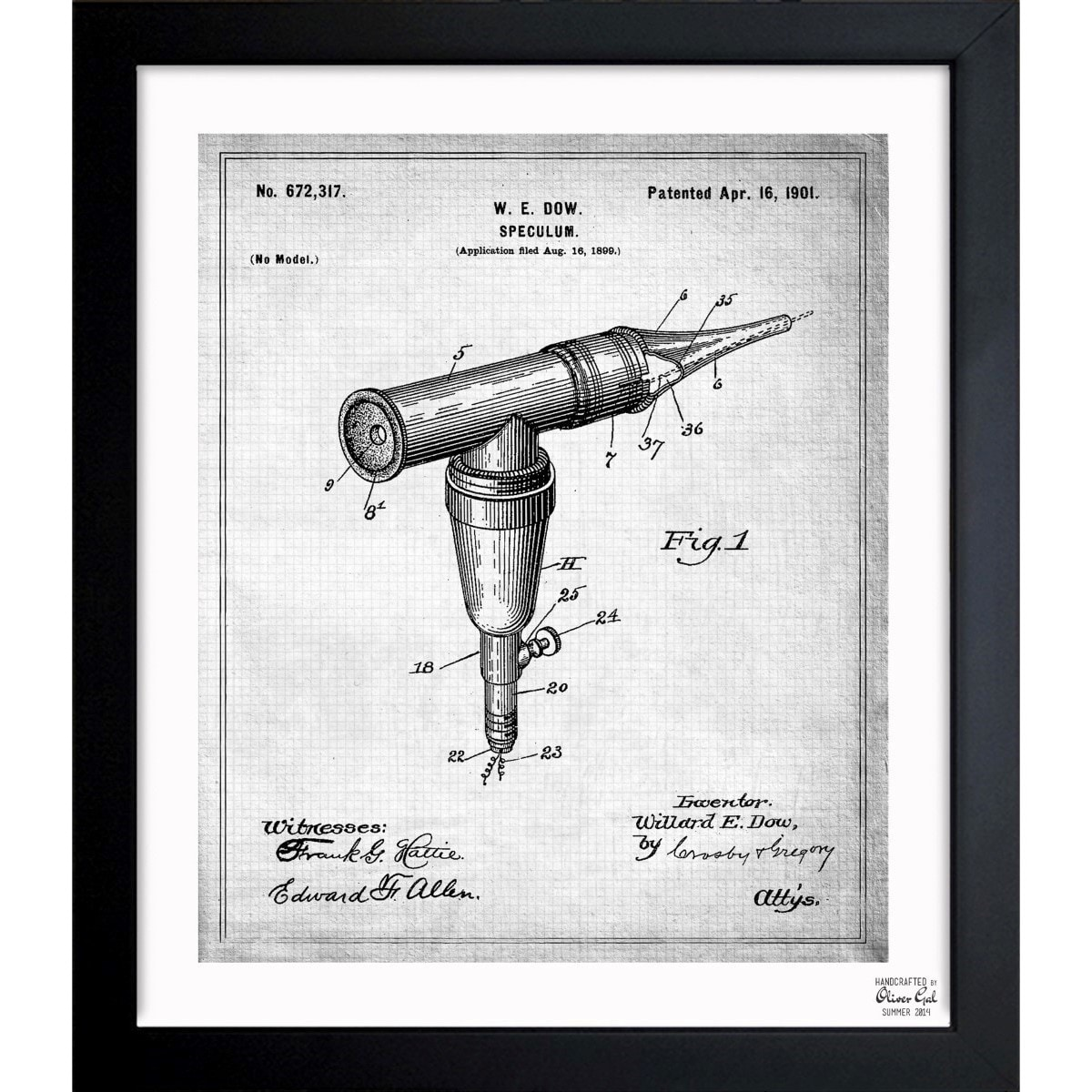 Oliver Gal 'Otoscope 1901' Framed Blueprint Art (26x32), ...