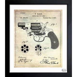 'Revolving Fire Arm 1881' Framed Blueprint Art