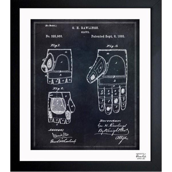 Oliver Gal 'Rawlings Baseball Mitt' Framed Blueprint Art