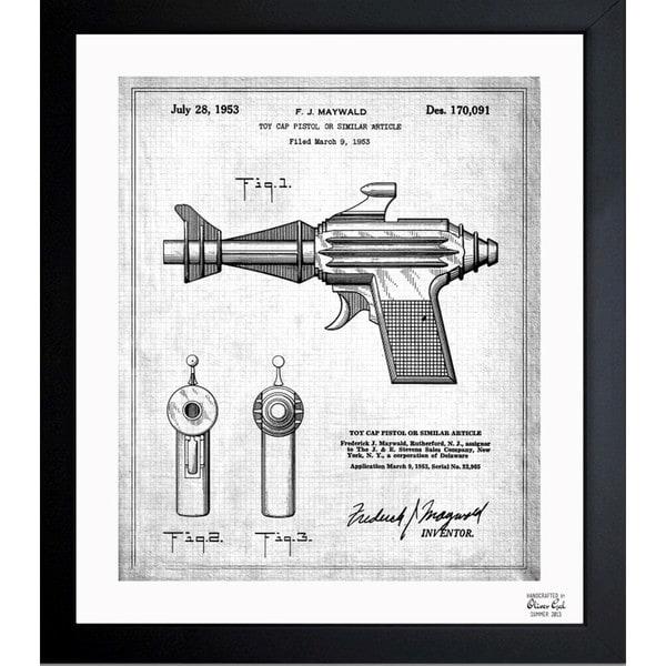 Oliver Gal 'Toy Cap Pistol 1953' Framed Blueprint Art