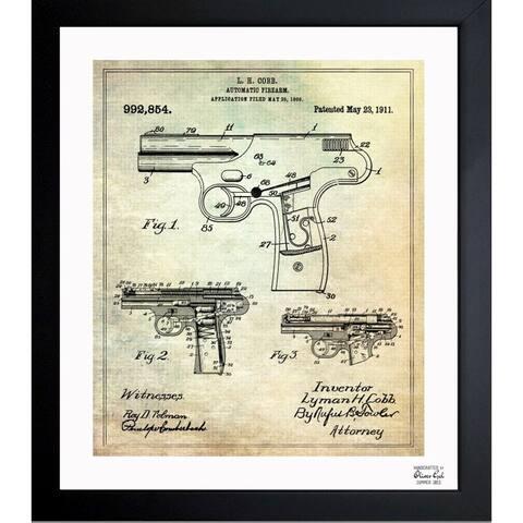Oliver Gal 'Automatic Firearm 1911' Framed Blueprint Art