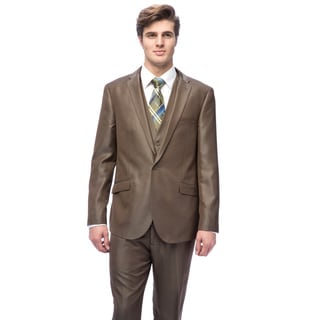 West End Men's Young Look Slim-fit Olive Vested Suit