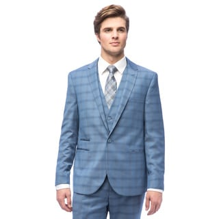 West End Men's Sky Blue Polyester/Viscose Young-look Slim-fit Peak Lapel Vested Suit