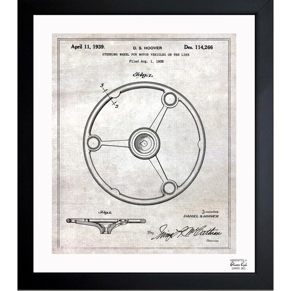 Oliver Gal 'Steering Wheel 1939' Framed Blueprint Art
