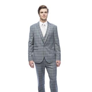 West End Men's Grey Young Look Slim Fit Peak Lapel Vested Suit