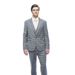 West End Men's Grey Young Look Slim Fit Peak Lapel Vested Suit