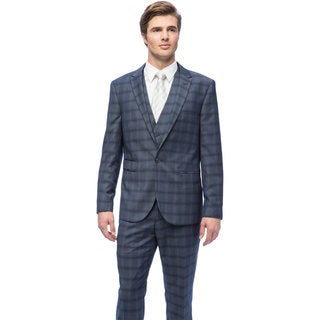 West End Men's Young Look Slim Fit Navy Peak Lapel Vested Suit