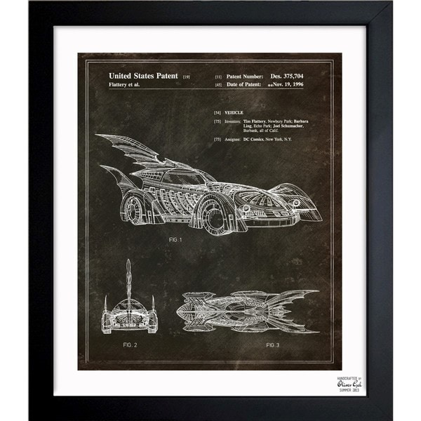 Oliver Gal 'Batmobile 1996' Framed Blueprint Art