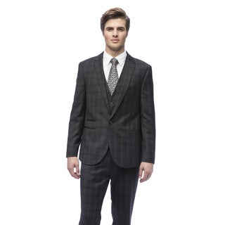 West End Men's Slim Fit Charcoal Peak Lapel Vested Suit