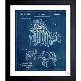 Oliver Gal 'BING, POLAROID CAMERA ACCESSORY, 1966 blue' Framed Blueprint Art