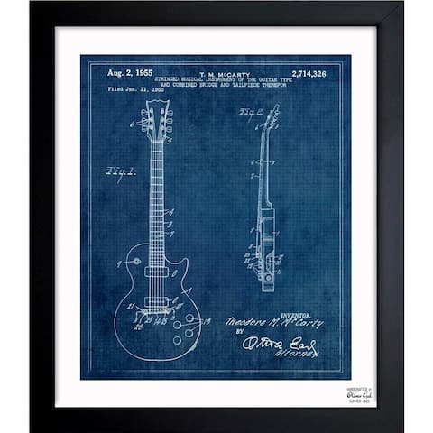 Oliver Gal 'GIBSON LES PAUL GUITAR, 1955 blue' Framed Blueprint Art
