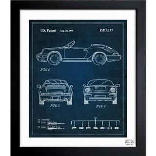 'Porsche 911, 1990' Framed Blueprint Art