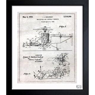 Oliver Gal 'Helicopter 1943' Framed Blueprint Art