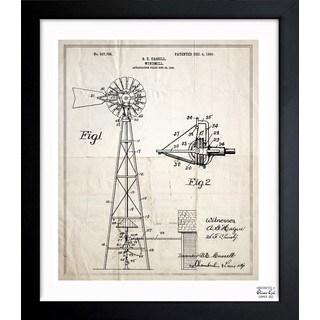 'Windmill 1906' Framed Blueprint Art