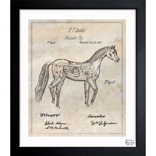 Oliver Gal 'automatic horse toy 1867' Framed Blueprint Art