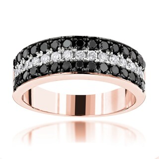 Luxurman 10k Gold 1 1/3 CT TDW Unique 3-row Diamond Wedding Band (More options available)