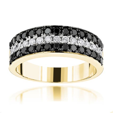 Luxurman 10k Gold 1 1/3 CT TDW Unique 3-row Diamond Wedding Band