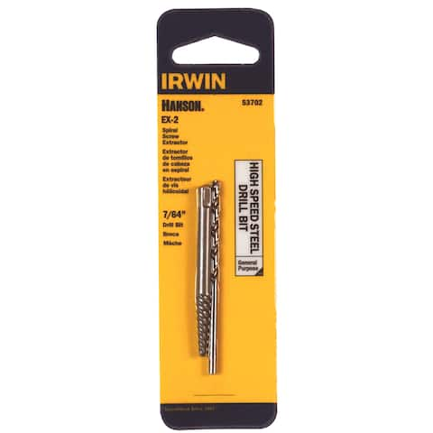 "Irwin Hanson 53702 7/64"" Spiral Screw Extractor & Drill Bit Set"