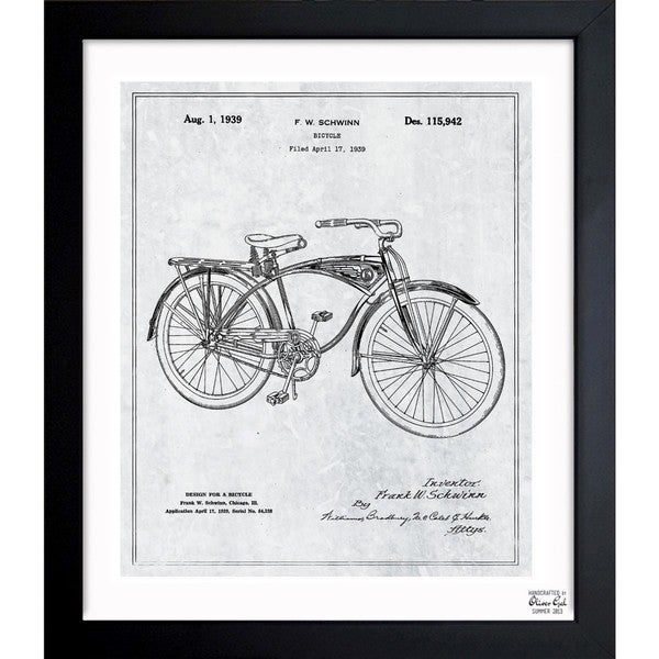 Shop Oliver Gal \'Schwinn Bicycle 1939 Grey\' Framed Blueprint Art ...