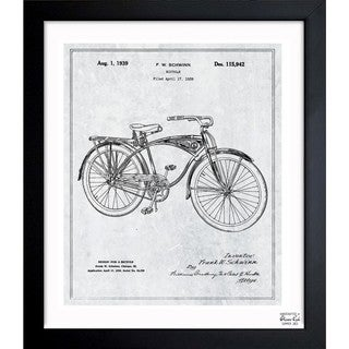'Schwinn Bicycle 1939 Grey' Framed Blueprint Art