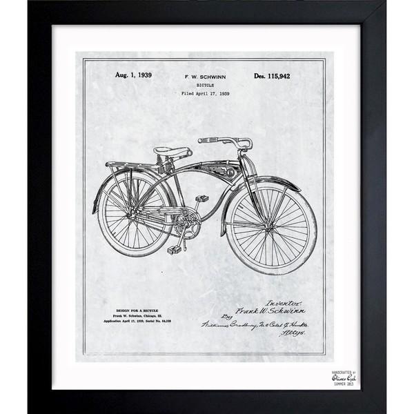 Shop oliver gal schwinn bicycle 1939 grey framed blueprint art oliver gal x27schwinn bicycle 1939 greyx27 framed blueprint art malvernweather Image collections