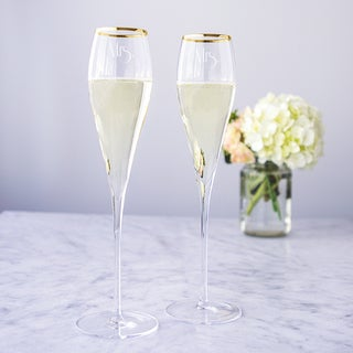 Mrs. and Mrs. Gatsby 7-ounce Gold Rim Champagne Flutes (Set of 2)