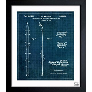 Oliver Gal 'Laminated Ski 1936' Framed Blueprint Art